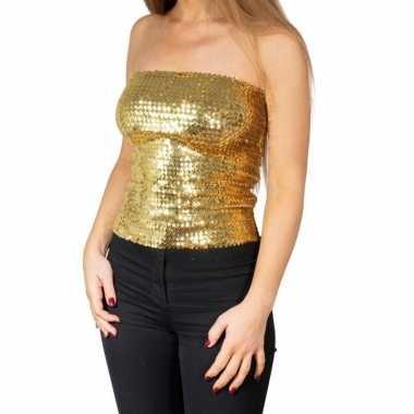 Gouden glitter pailletten disco strapless topje/ shirt dames zonder m