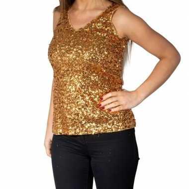 Gouden glitter pailletten disco topje/ mouwloos shirt dames zonder