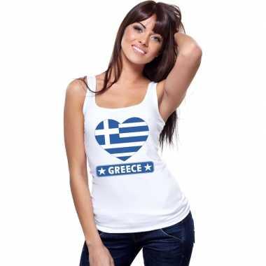 Griekenland hart vlag singlet shirt/ t shirt zonder mouw wit dames