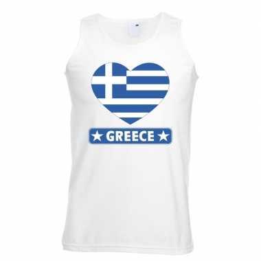 Griekenland hart vlag singlet shirt/ t shirt zonder mouw wit heren