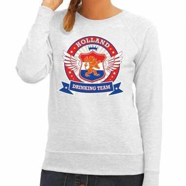 Grijs holland drinking team sweater dames zonder mouw