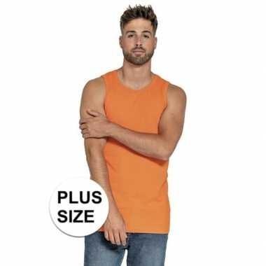 Grote maten oranje t shirt zonder mouw/singlet heren