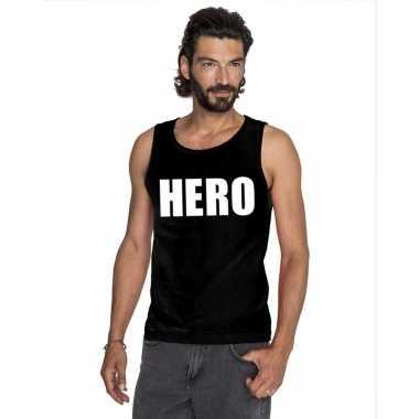 Hero tekst singlet shirt/ t shirt zonder mouw zwart heren