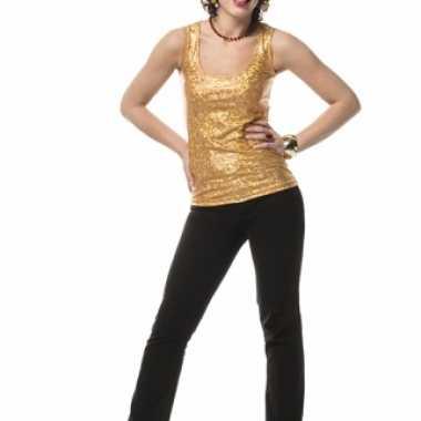Holografische top goud dames zonder mouw