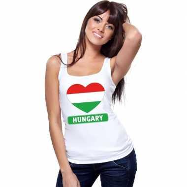 Hongarije hart vlag singlet shirt/ t shirt zonder mouw wit dames