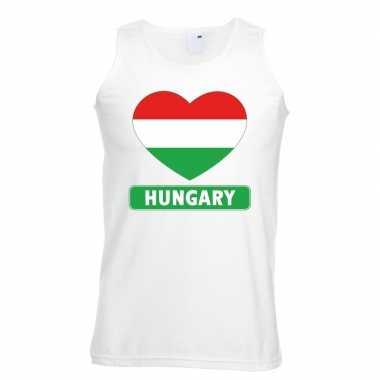 Hongarije hart vlag singlet shirt/ t shirt zonder mouw wit heren