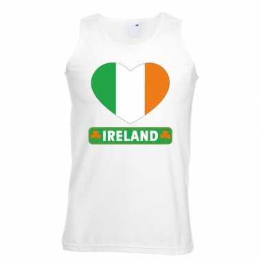 Ierland hart vlag singlet shirt/ t shirt zonder mouw wit heren