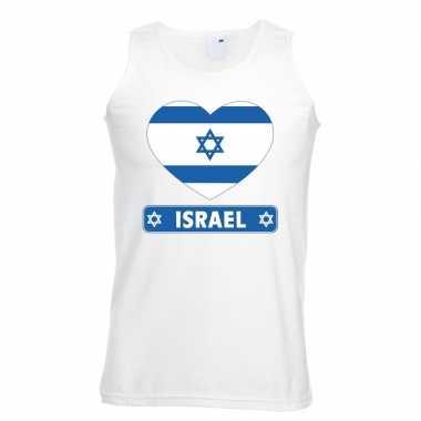 Israel hart vlag singlet shirt/ t shirt zonder mouw wit heren