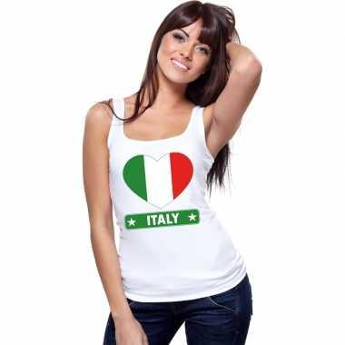 Italie hart vlag singlet shirt/ t shirt zonder mouw wit dames