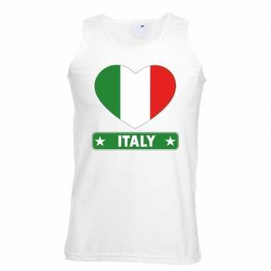Italie hart vlag singlet shirt/ t shirt zonder mouw wit heren