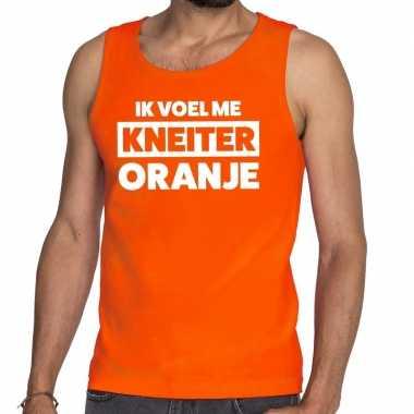 Kneiter oranje koningsdag t shirt zonder mouw / mouwloos shirt oranje