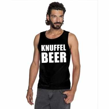 Knuffel beer tekst singlet shirt/ t shirt zonder mouw zwart heren