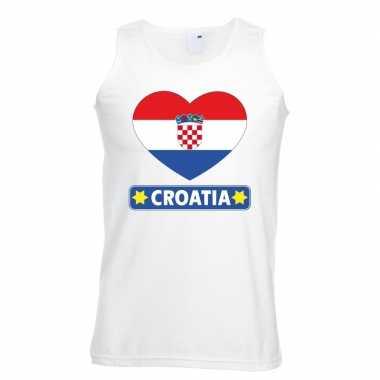 Kroatie hart vlag singlet shirt/ t shirt zonder mouw wit heren