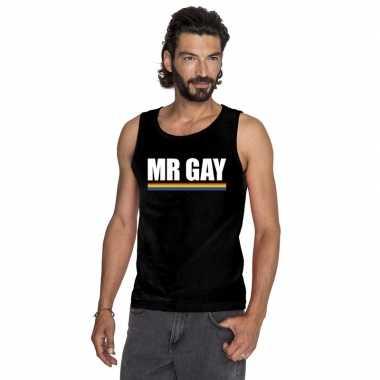 Lgbt singlet shirt/ t shirt zonder mouw zwart mister gay heren