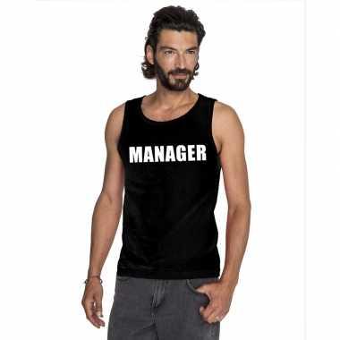 Manager tekst singlet shirt/ t shirt zonder mouw zwart heren