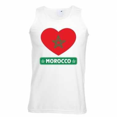 Marokko hart vlag singlet shirt/ t shirt zonder mouw wit heren