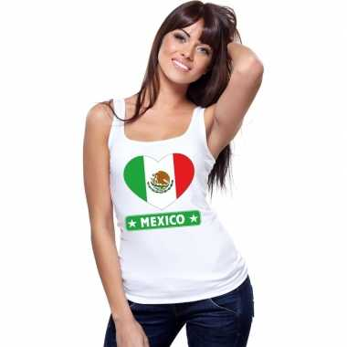 Mexico hart vlag singlet shirt/ t shirt zonder mouw wit dames