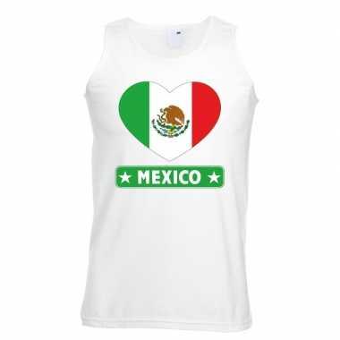 Mexico hart vlag singlet shirt/ t shirt zonder mouw wit heren