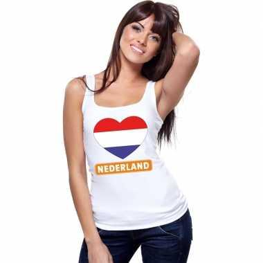 Nederland hart vlag singlet shirt/ t shirt zonder mouw wit dames