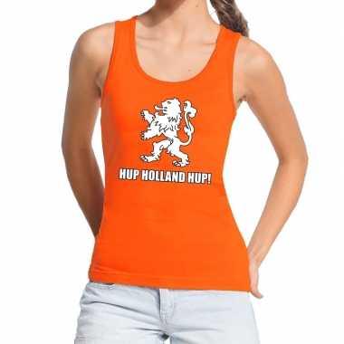 Nederland supporter t shirt zonder mouw hup holland hup oranje dames