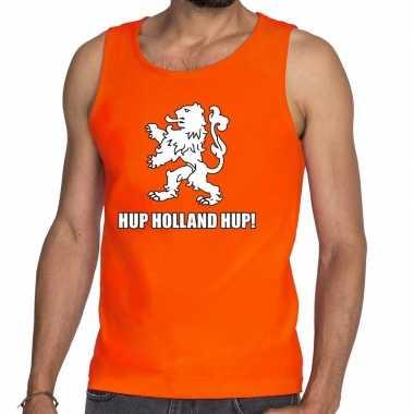 Nederland supporter t shirt zonder mouw hup holland hup oranje heren