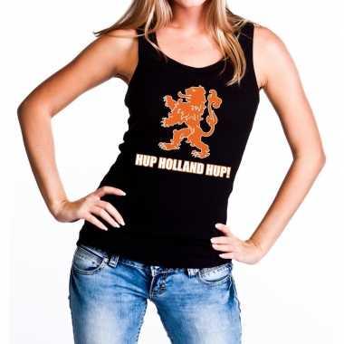 Nederland supporter t shirt zonder mouw hup holland hup zwart dames