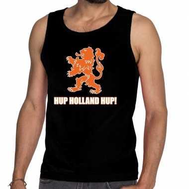 Nederland supporter t shirt zonder mouw hup holland hup zwart heren