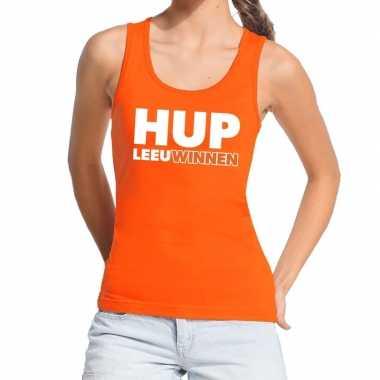 Nederland supporter t shirt zonder mouw hup leeuwinnen oranje dames
