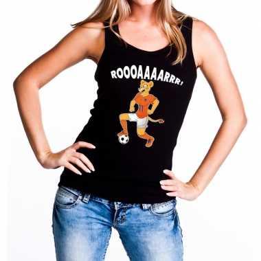 Nederland supporter t shirt zonder mouw leeuwin roooaaaarrr zwart dam