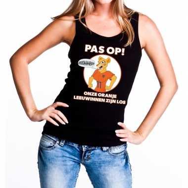 Nederland supporter t shirt zonder mouw leeuwinnen zijn los zwart dam