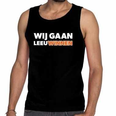 Nederland supporter t shirt zonder mouw wij gaan leeuwinnen zwart her