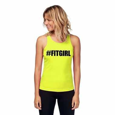 Neon geel sport shirt/ singlet #fitgirl dames zonder mouw