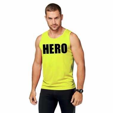 Neon geel sport shirt/ singlet hero heren zonder mouw