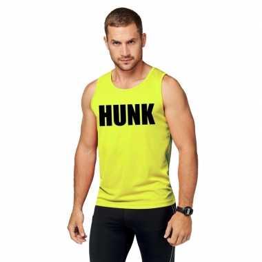 Neon geel sport shirt/ singlet hunk heren zonder mouw