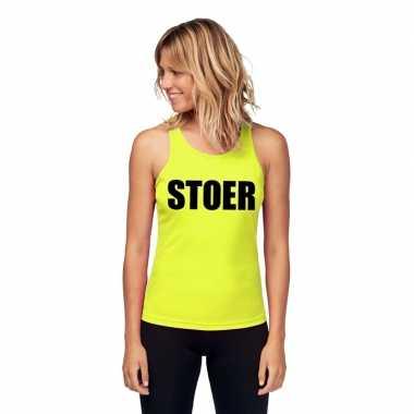 Neon geel sport shirt/ singlet stoer dames zonder mouw