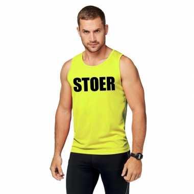 Neon geel sport shirt/ singlet stoer heren zonder mouw