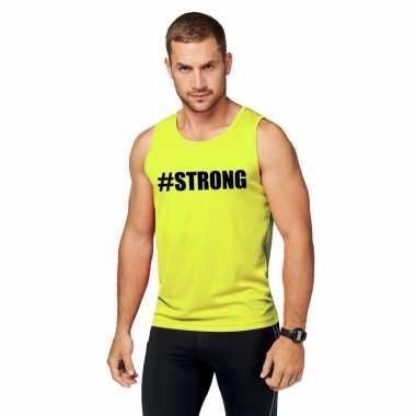 Neon geel sport shirt/ singlet #strong heren zonder mouw