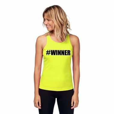 Neon geel winnaar sport shirt/ singlet #winner dames zonder mouw