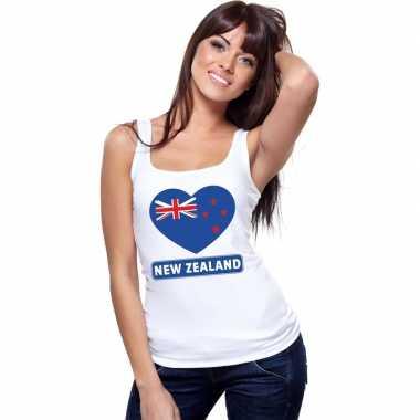 Nieuw zeeland hart vlag singlet shirt/ t shirt zonder mouw wit dames