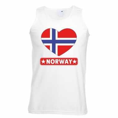 Noorwegen hart vlag singlet shirt/ t shirt zonder mouw wit heren