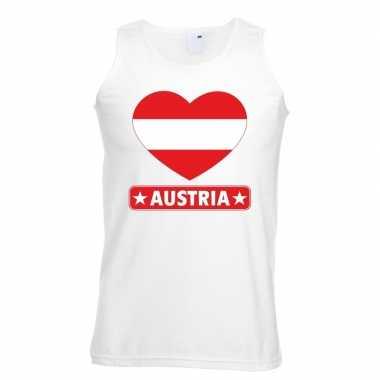 Oostenrijk hart vlag singlet shirt/ t shirt zonder mouw wit heren