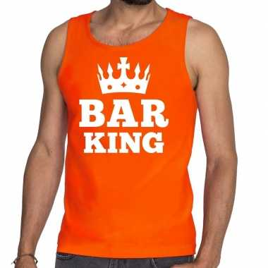 Oranje bar king t shirt zonder mouw / mouwloos shirt heren
