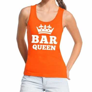Oranje bar queen t shirt zonder mouw / mouwloos shirt dames