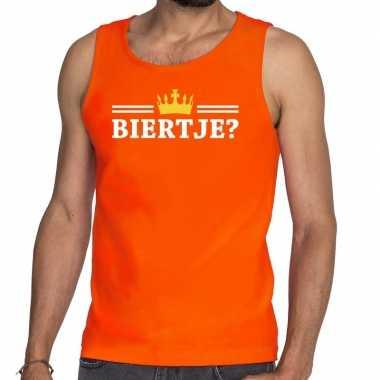 Oranje biertje kroon t shirt zonder mouw / mouwloos shirt heren