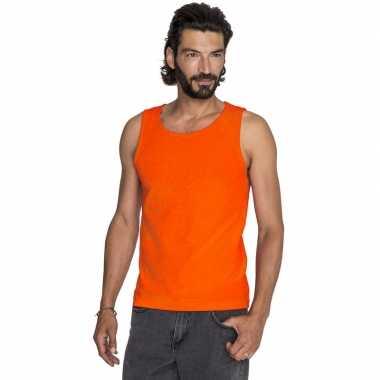 Oranje casual t shirt zonder mouw/singlet heren
