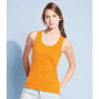 Oranje dames t-shirt zonder mouw