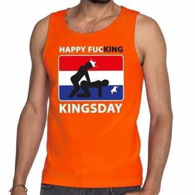 Oranje happy fucking kingsday t shirt zonder mouw / mouwloos shirt he