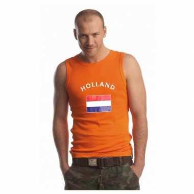 Oranje heren singlet Holland zonder mouw