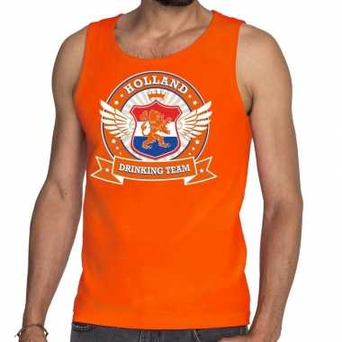 Oranje holland drinking team tankop / mouwloos shirt heren zonder