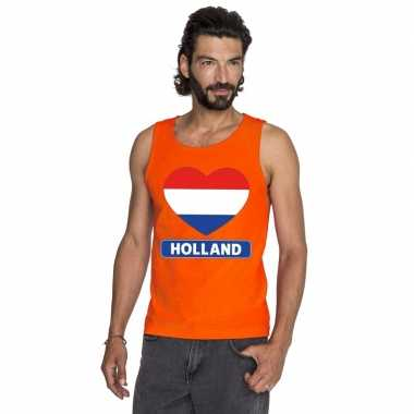 Oranje holland hart vlag t shirt zonder mouw heren